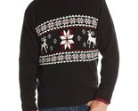 $65 Dockers Men Sweater 100% Cotton Fair Isle Ski Lodge Deer Red/Black NEW