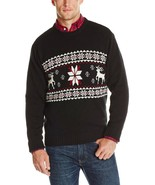 $65 Dockers Men Sweater 100% Cotton Fair Isle Ski Lodge Deer Red/Black NEW - €23,43 EUR