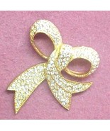 Ribbon Bow Pin PAVE rhinestone glitz gold plated - $8.00
