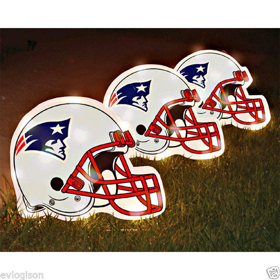Primary image for Set of 3 Lighted Pathway Lights Football NFL New England Patriots