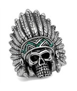 Men's Stainless Emerald Crystal Skull Biker Style Novelty Ring, High Pol... - $26.99