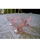 Jeannette Glass Pink Floral Poinsettia 3 Sherbets & Sherbet Plates - $38.61