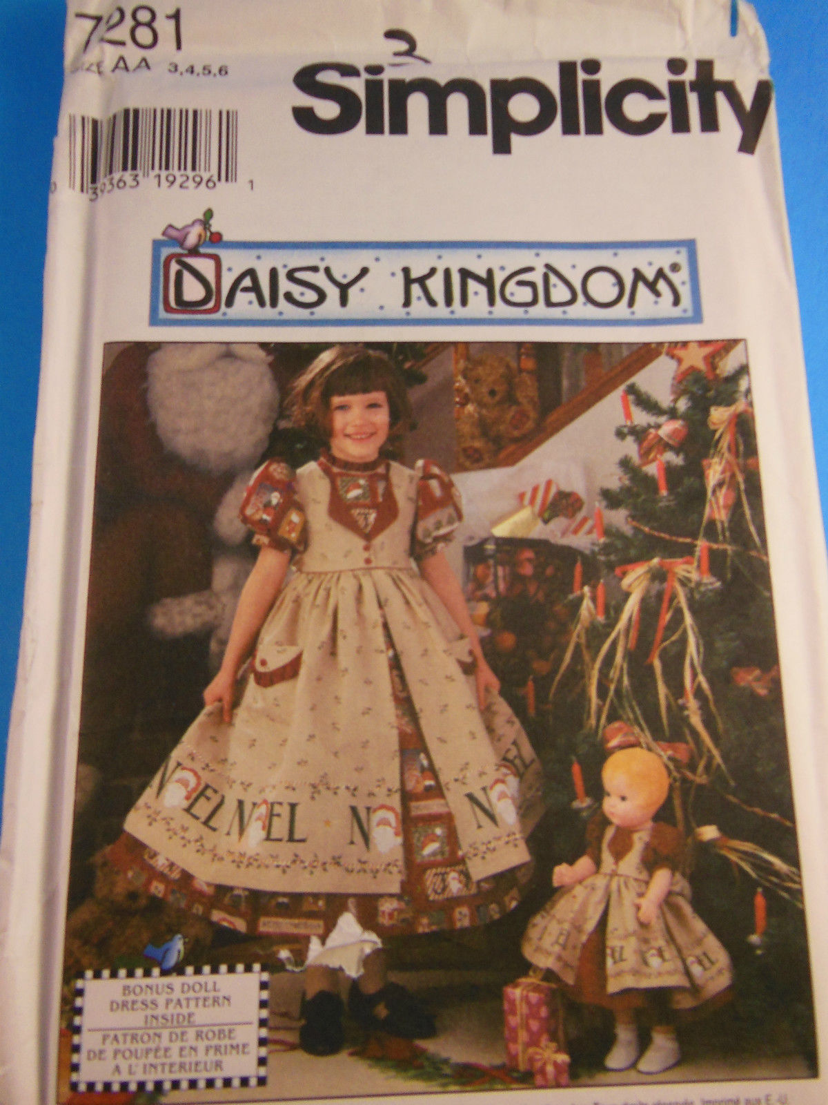 Primary image for DAISY KINGDOM Pattern 7281 Simplicity GIRLS & DOLL DRESS Size 3, 4, 5, 6 UNCUT
