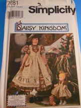 DAISY KINGDOM Pattern 7281 Simplicity GIRLS & DOLL DRESS Size 3, 4, 5, 6... - $5.53