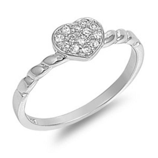 Primary image for Sterling Silver size ring 9 CZ Heart Round cut Knuckle Midi Ladies New 925 r67