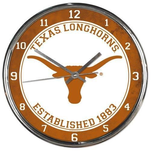 "TEXAS LONGHORNS CHROME SILVER 12"" ROUND QUARTZ WALL CLOCK NCAA MAN CAVE!"