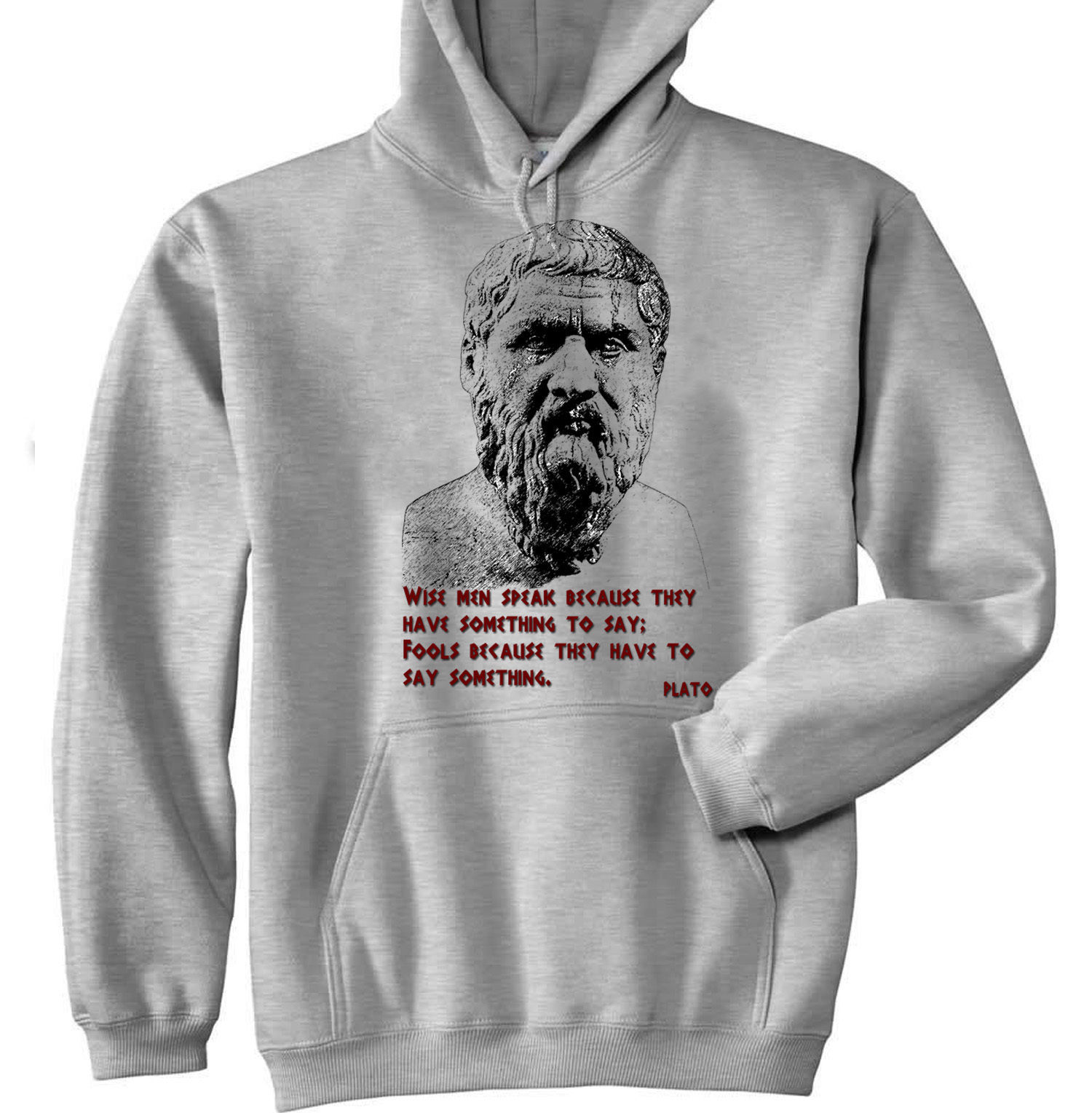 Primary image for PLATO - NEW COTTON GREY HOODIE - ALL SIZES IN STOCK