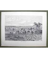 AUSTRALIA View of Melbourne - 1858 Engraving Antique Print - $9.57