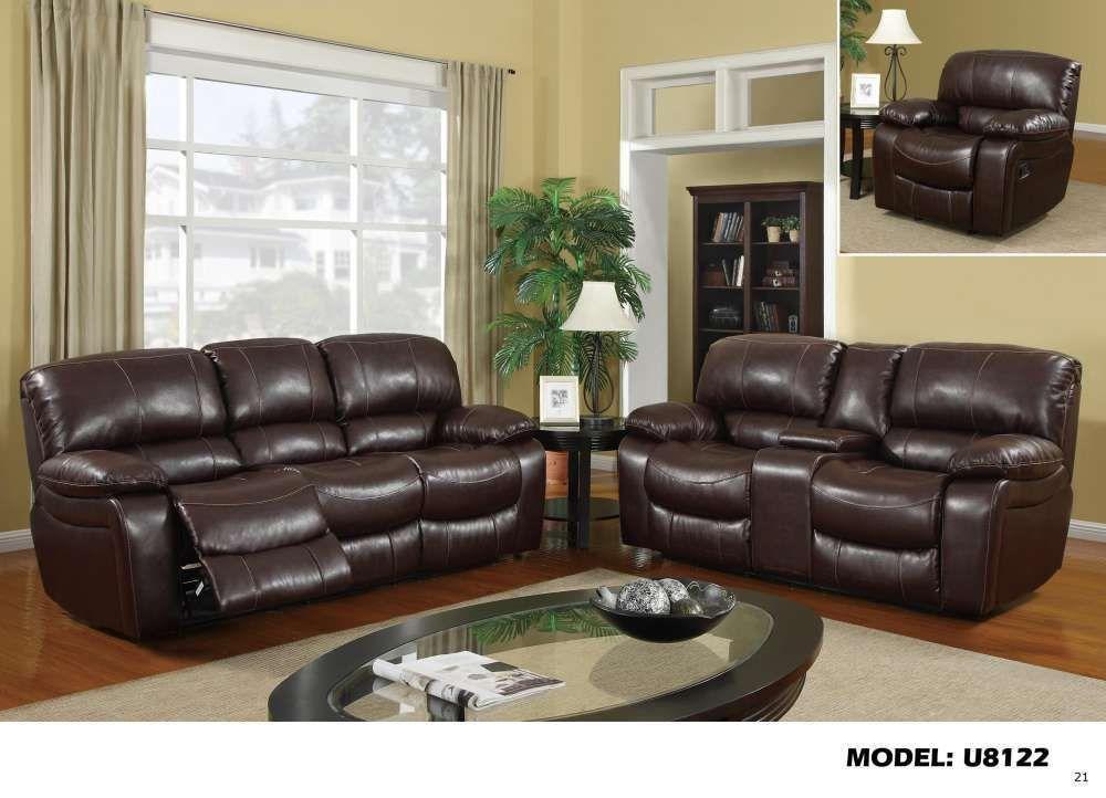 Global U8122 Burgundy Bonded Leather Reclining Sofa Set