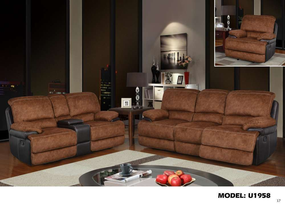 Global U1958 Pecan Microfiber & Brown Bonded Leather Reclining Sofa Set