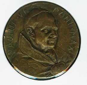 Primary image for Vintage (year unknown) Pope Paul VI Bronze Hammered Medal 30mm.  Always Free Wor