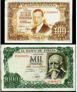 Spain 1953 100 Pesetas and 1971 1000 Pesetas Crisp almost UNC notes - $24.00