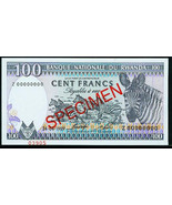 Rwanda 1989 One Hundred Francs Specimen Z00000000 Crisp Uncirculated - $16.00