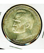 Poland 50,000 Zlotych 1988 Silver Coin Jozef Pilsudski  Lightly Toned Hi... - $32.00