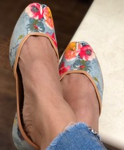 Grey and red Floral printed shoes, women jutti, Indian Ethnic shoes,Women mojari - $37.99