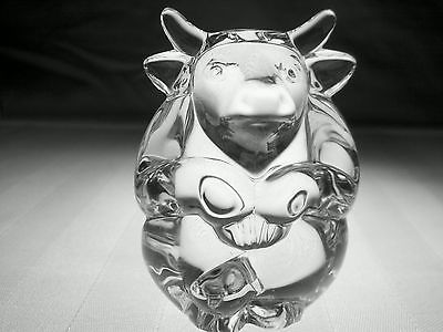 STEUBEN Glass MONKEY Hand CoolerSigned Crystal PaperweightBRAND NEW