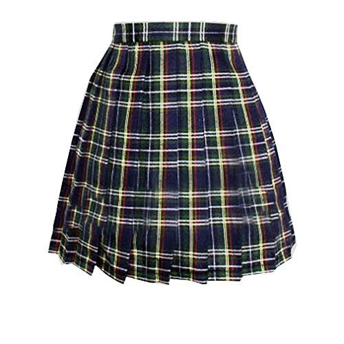 Primary image for Women`s A-line Pleated Stripe plaid Summer Skirt(4XL,Yellow green red stripes )