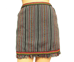 Peruvian High Waisted, Pencil skirt, Tribal Miniskirt with Fringe - $33.00