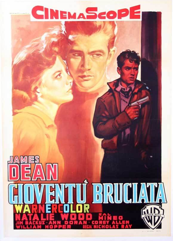 REBEL WITHOUT A CAUSE MOVIE POSTER 27x40 ITALIAN JAMES DEAN NATALIE WOOD RARE OP