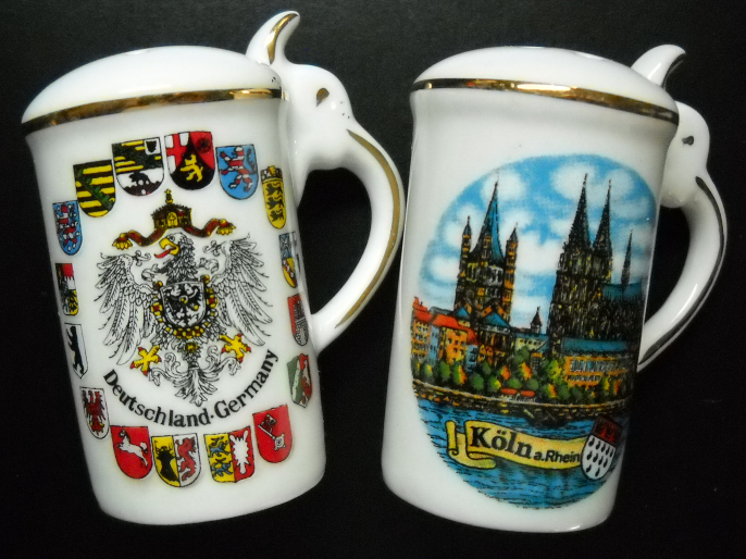 Primary image for Koln Germany Deutschland Salt and Pepper Shakers Porcelain Stein Shaped Boxed