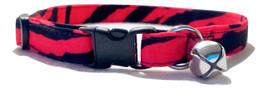 Red Tiger Stripe Cat or Kitten Collar Adjustable Black zebra animal prin... - $8.00