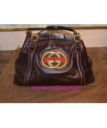 100% Authentic Gucci Britt Gold Leather Web GG Brown Leather Medium Tote... - $295.00