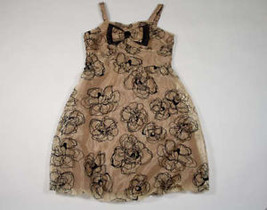 In Girl Size 12 New Dress Shimmery Gold Black Special Occasion Portrait Holiday - $18.50