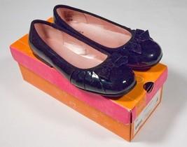 SONOMA GIRLS YOUTH SIZE 4 M NARELLA BLACK PATENT DRESSY SHOES VELVET BOW... - $16.82