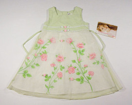 YOUNGLAND GIRLS SIZE 4 DRESS NWT GREEN PINK ROSES FLOWERS FLORAL NEW EASTER - $14.30