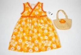 BT KIDS GIRLS SIZE 5 NWT DRESS & PURSE SET VIBRANT ORANGE FLORAL SPRING ... - $15.98