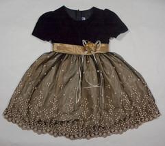 JOY KID GIRL 4 DRESS ELEGANT BLACK VELOUR SHIMMERY GOLD SPECIAL OCCASION... - $21.03