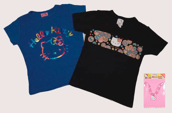 Primary image for HELLO KITTY GIRLS SIZE SMALL 4-5 SHIRTS NEW LOT OF 2 SANRIO TOPS FOIL