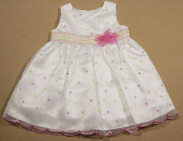 BABY GIRLS 18M DRESS WHITE SPECIAL OCCASION POLKA DOTS PORTRAIT EASTER S... - $16.82