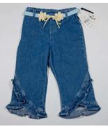 AMY BYER GIRLS SIZE 6 NWT CAPRI PANTS YELLOW DAISY RUFFLE DENIM NEW - $16.82