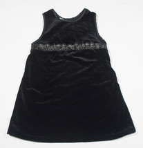 ELEGANT BLACK VELVET GIRLS SIZE 4T DRESS SHIMMERY SILVER FLOWERS - $8.41