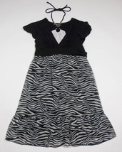 MY MICHELLE GIRLS SIZE 16 DRESS BLACK & WHITE ZEBRA PRINT HALTER BEADS - $18.50