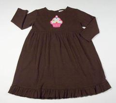 JUST DUCKY ORIGINALS GIRLS 4 5 BROWN DRESS PINK CUPCAKE BIRTHDAY CELEBRA... - $12.61