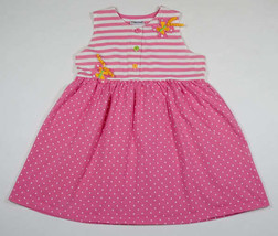KABOOM GIRLS SIZE 6 DRESS PINK POLKA DOT STRIPED BUTTERFLY CURLY RIBBONS - $10.09