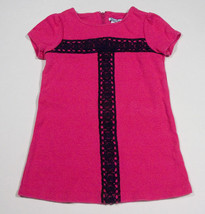 HARTSTRINGS GIRLS SIZE 3T DRESS BRIGHT PINK WITH BLACK LACE TRIM - $15.98