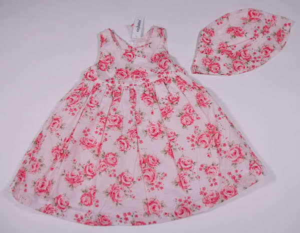 Primary image for C.C. BATES GIRLS SIZE 18M DRESS & HAT SET NWT PINK SUMMER ROSES OUTFIT NEW