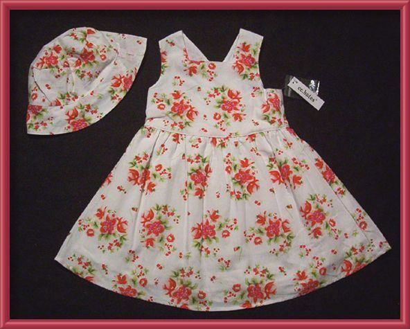 Primary image for C.C. BATES GIRLS SIZE 24M NWT WHITE DRESS & HAT SET RED FLORAL FLOWERS 24 M NEW
