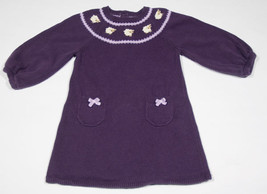 GYMBOREE GIRLS SIZE 12M 18M SWEATER DRESS CUDDLY LAMBS PURPLE DRESS - $16.82