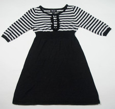 I.N. Girl Size Large 10 Sweater Dress Tunic Striped Stripes Black & White - $15.98