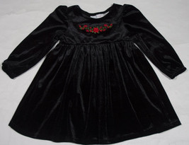 WONDER KIDS GIRLS SIZE 3T DRESS ELEGANT  BLACK VELVET RED ROSES HOLIDAY ... - $8.41