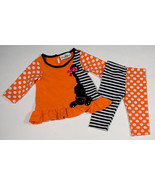 RARE EDITIONS BABY GIRLS 6M OUTFIT HALLOWEEN KITTY CAT DOTS TOP LEGGINGS... - $8.41