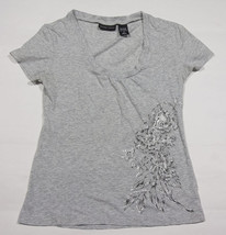 NEW YORK & COMPANY WOMENS JUNIORS SIZE S SMALL TOP GRAY FLORAL FLOWERS S... - $16.82