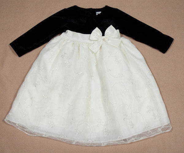 GOODLAD GIRLS SIZE 4  DRESS IVORY BLACK VELVET HOLIDAY CHRISTMAS PORTRAIT PARTY