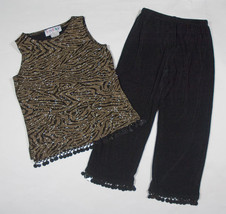 RN  KIDZ GIRLS 6X OUTFIT TOP PANTS SHIMMERY BLACK GOLD FESTIVE SPECIAL O... - $15.14