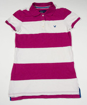 AMERICAN EAGLE WOMENS JUNIORS SIZE S/P SHIRT PINK WHITE STRIPED POLO LOG... - $16.82