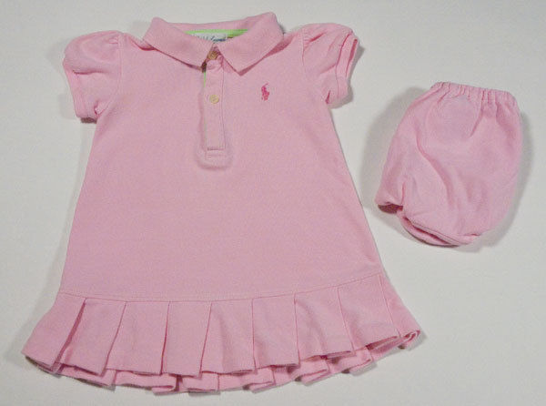 Primary image for RALPH LAUREN BABY GIRLS 9M DRESS SET PINK POLO PONY LOGO PLEATED HEMLINE INFANT